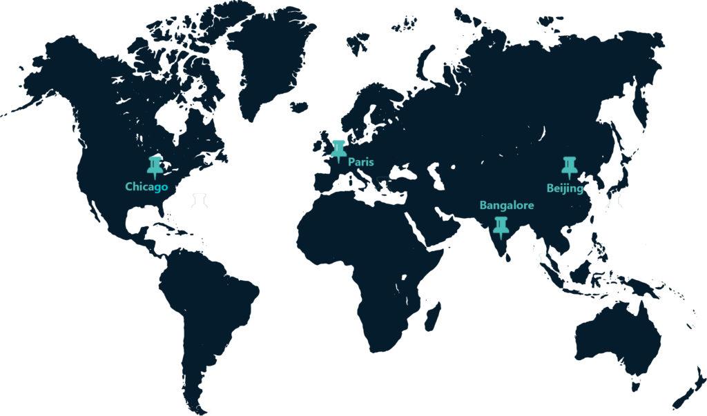 World map TechViz offices